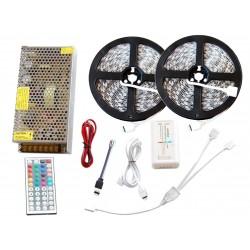 Zestaw Tasma 600 LED RGB 10m Kontroler Pilot + Zasilacz