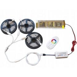 ZESTAW 15m Taśma LED 5050 RGB + Biały P. DOTYKOWY